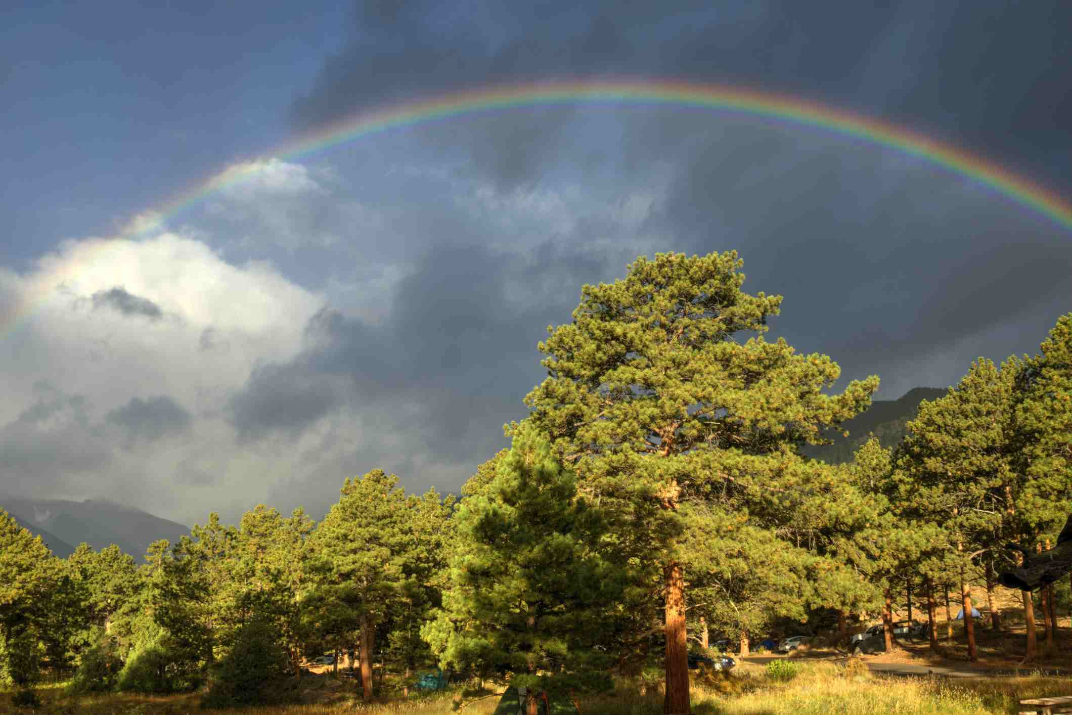 A rainbow over a campground in RMNP