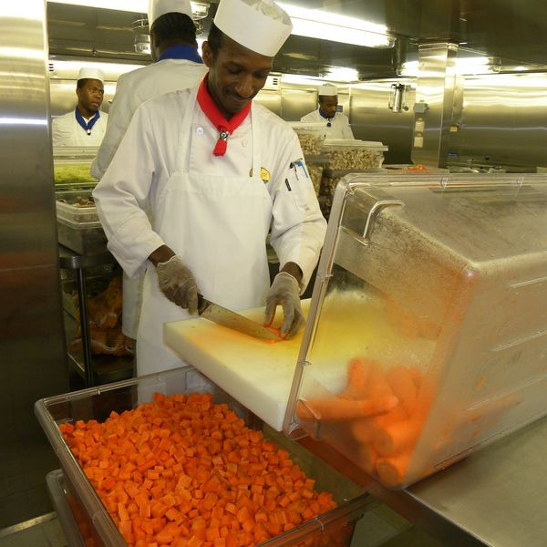 Allure of the Seas - Preparing Carrots in the Galley