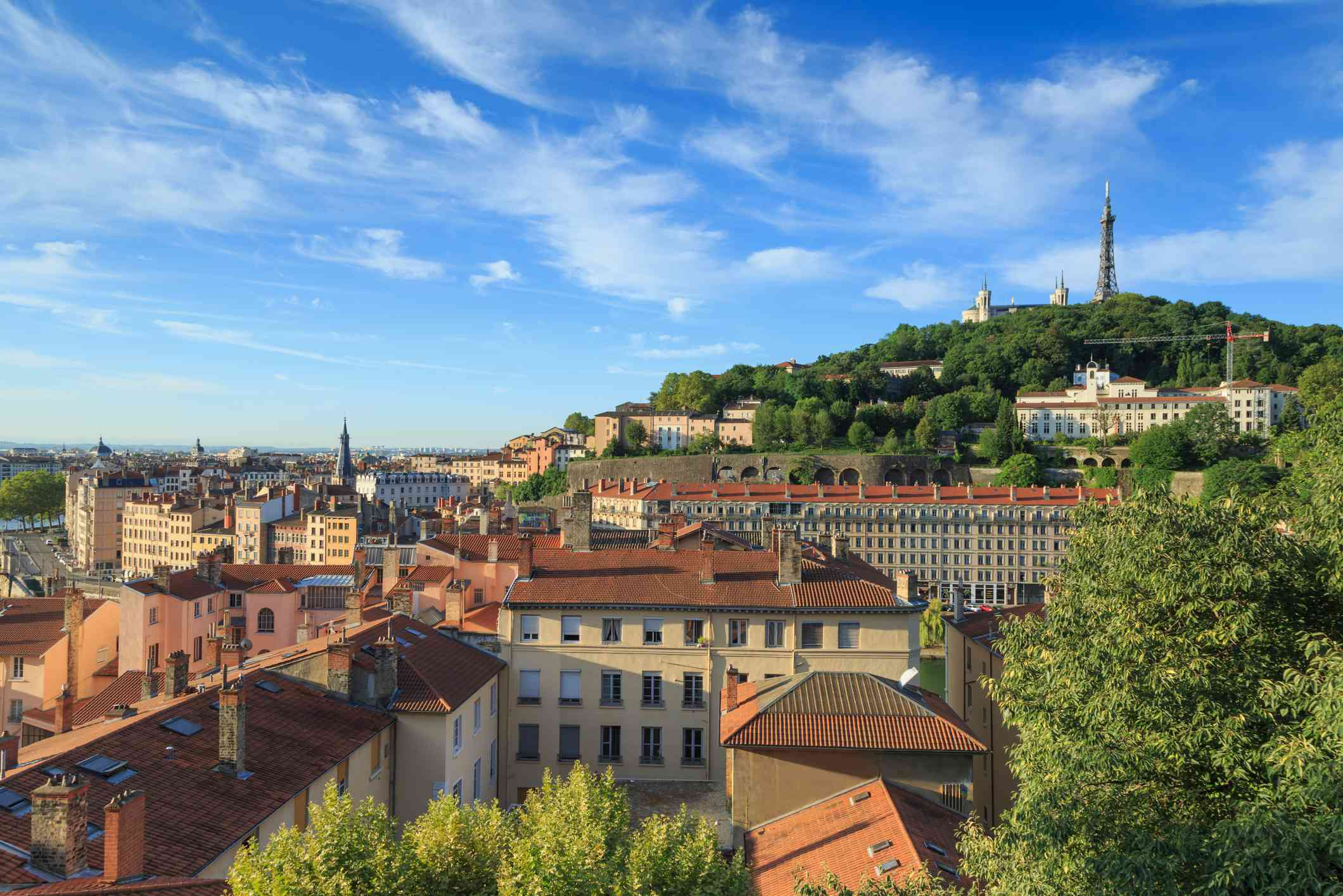 Summer view over Vieux Lyon, with famous cathedral Fourviere, and Croix Rousse in the city of Lyon, France.