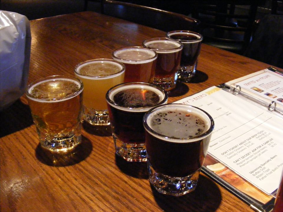 Beer flight from Rock Bottom Brewery in Milwaukee.