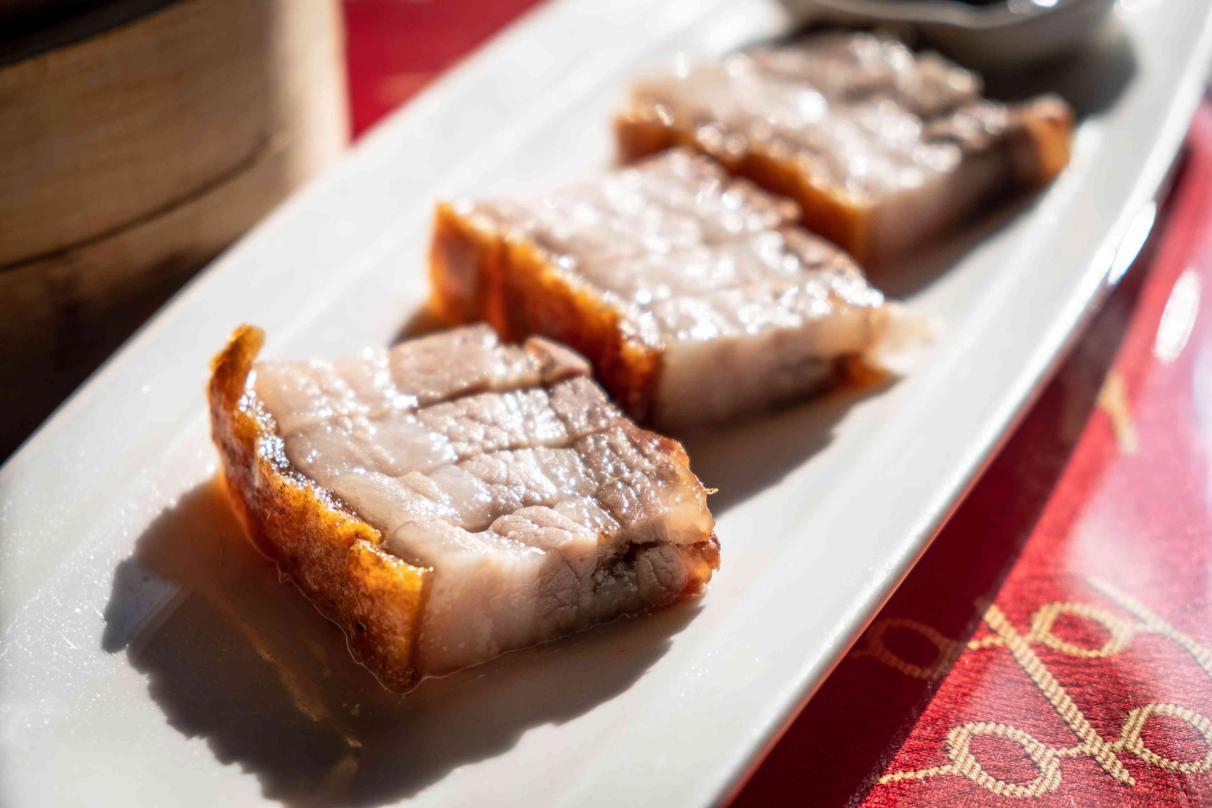 Chinese crackling pork belly with grilled crispy skin