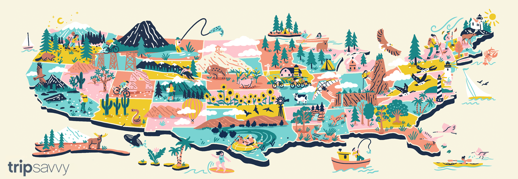 Illustration of Outdoor activities in every state