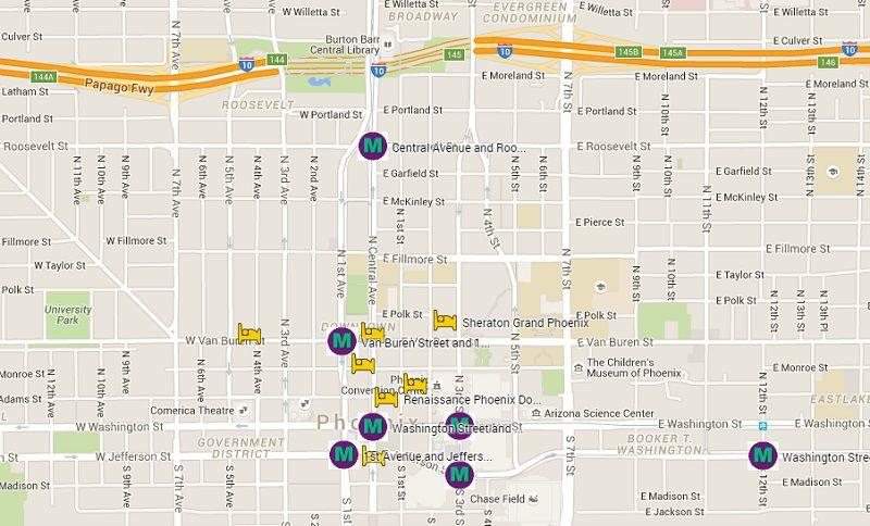 Map Of Hotels On Phoenix Valley Metro Light Rail - Us-airways-center-map