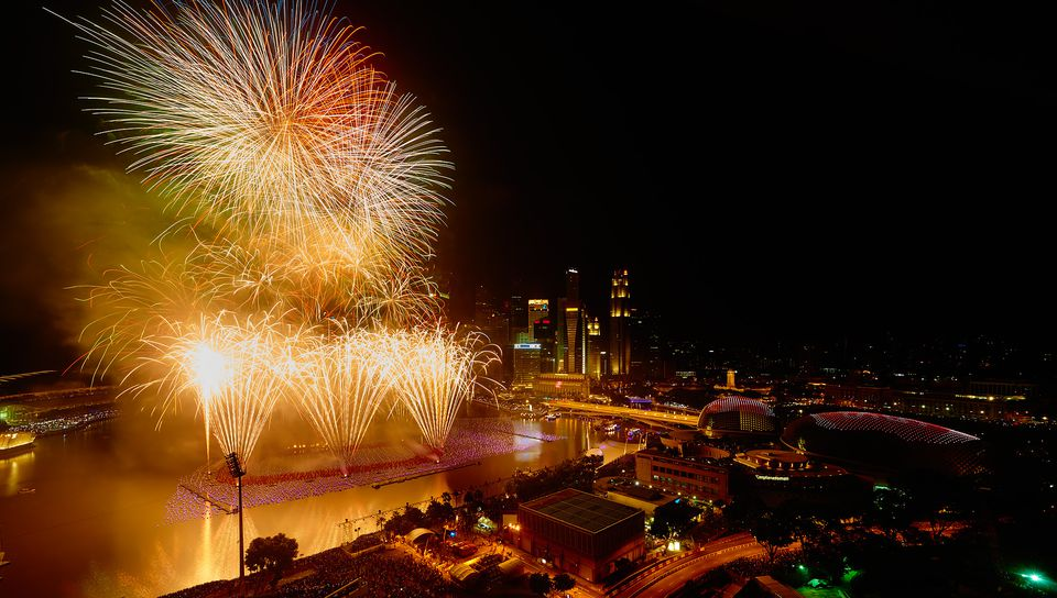 Fireworks at Singapore's Marina Bay Countdown on New Year's Eve