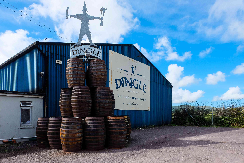 barrels outside distillery