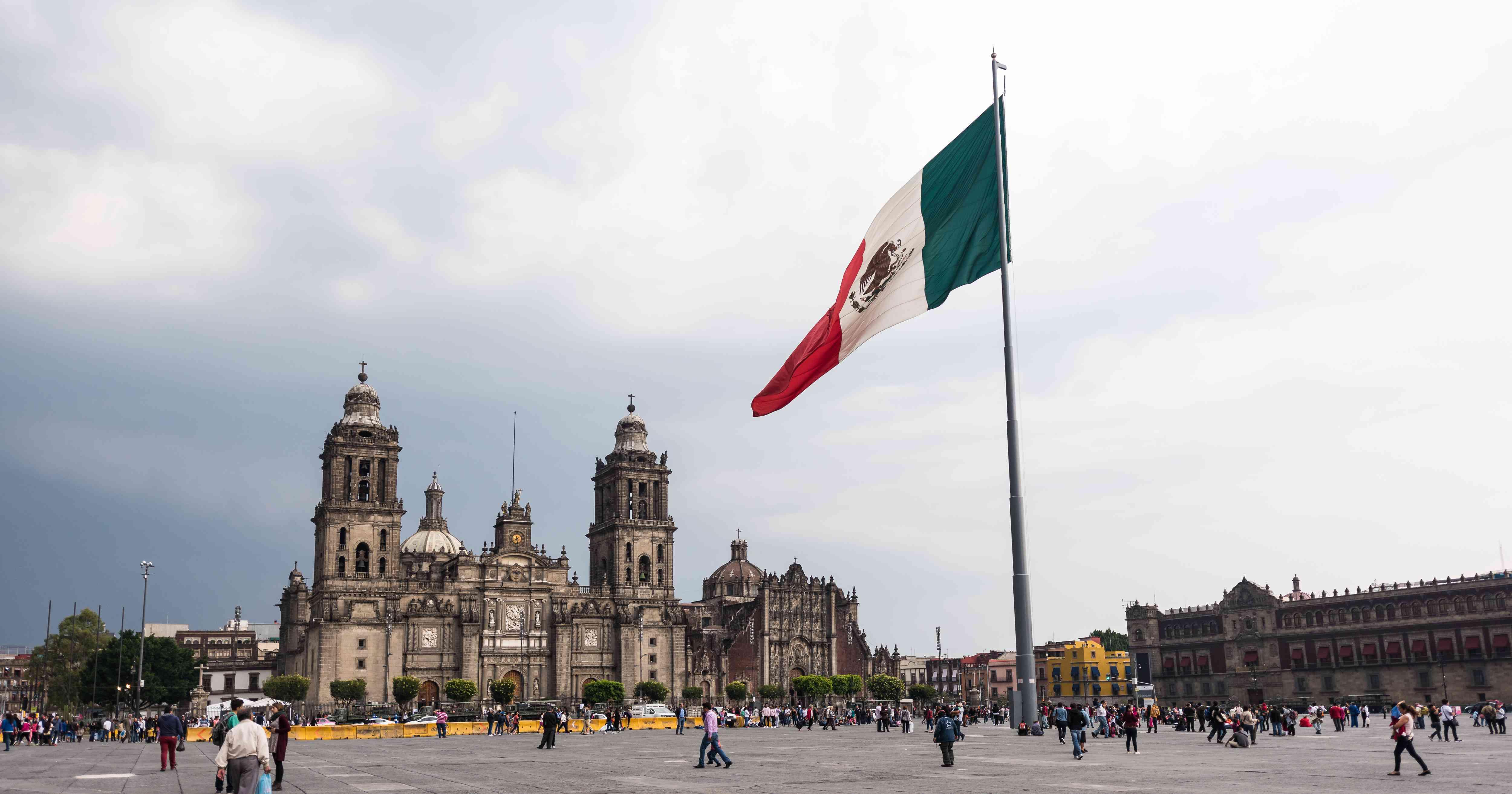 Mexico City's Plaza de la Constitución with a large Mexico flag