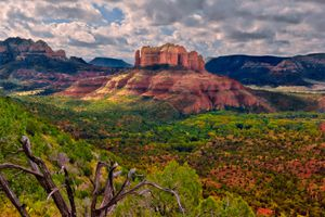 Cathedral Rock viewed from Airport Trail, Sedona, Arizona, America, USA