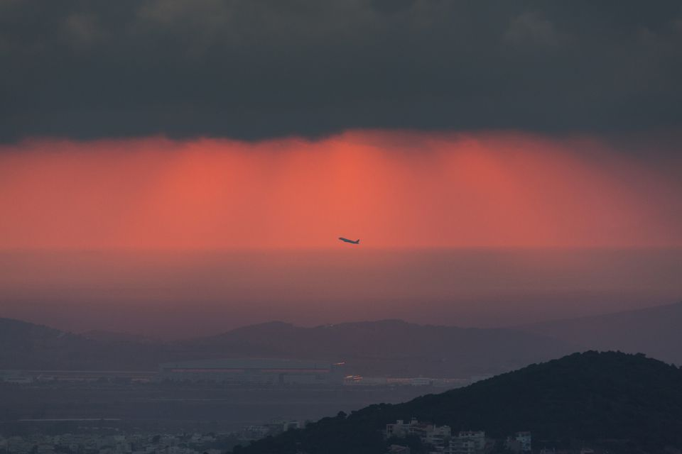 Sunset At The Athens International Airport