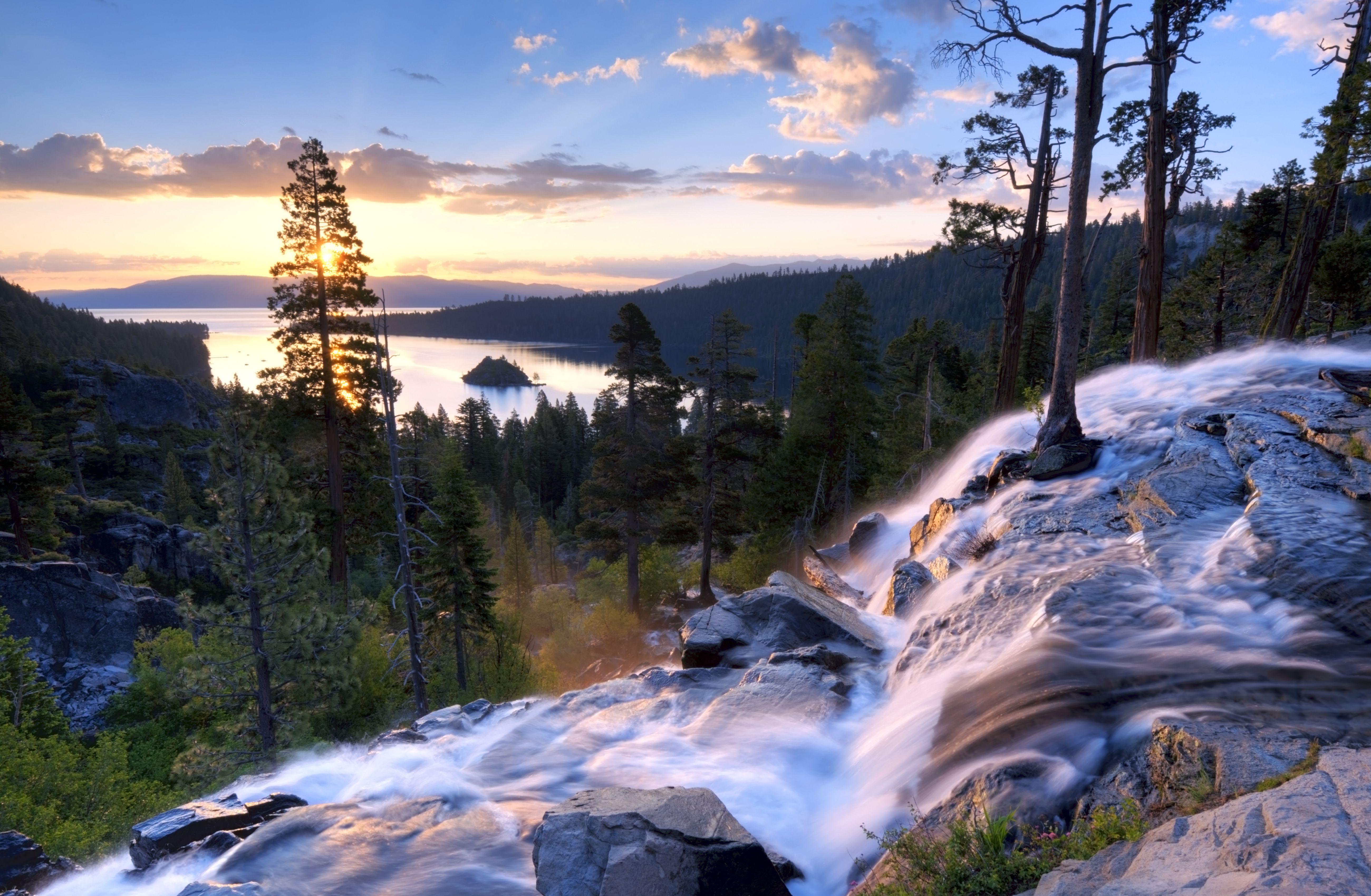 A beautiful sunrise at Eagle Falls at Emerald Bay in Lake Tahoe, California