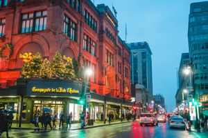 La Baie Store Front and Xmas Decorations on Ste-Catherine Street during a Christmas Shopping Rainy Night