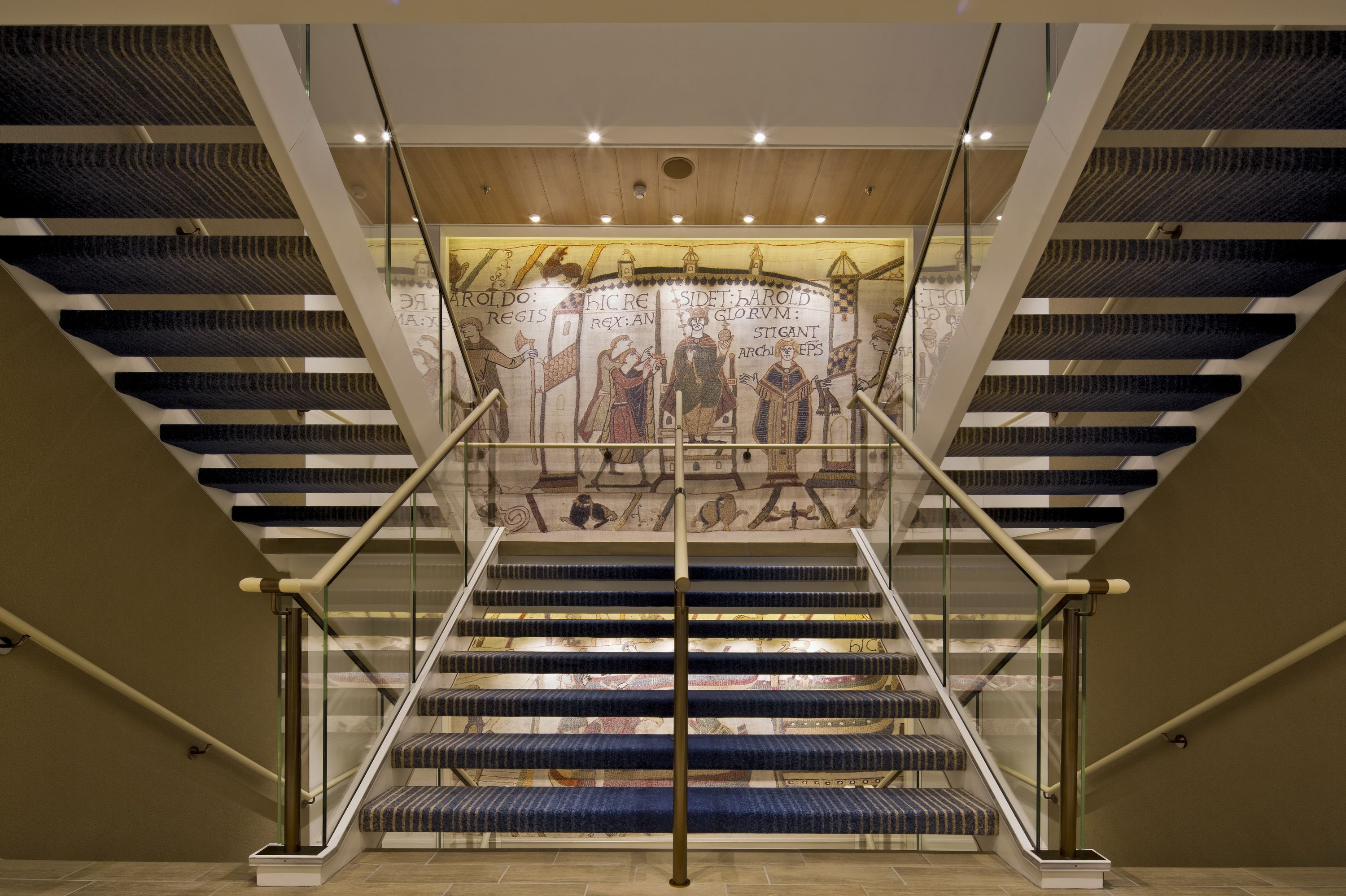 Viking Sea cruise ship stairway and tapestry