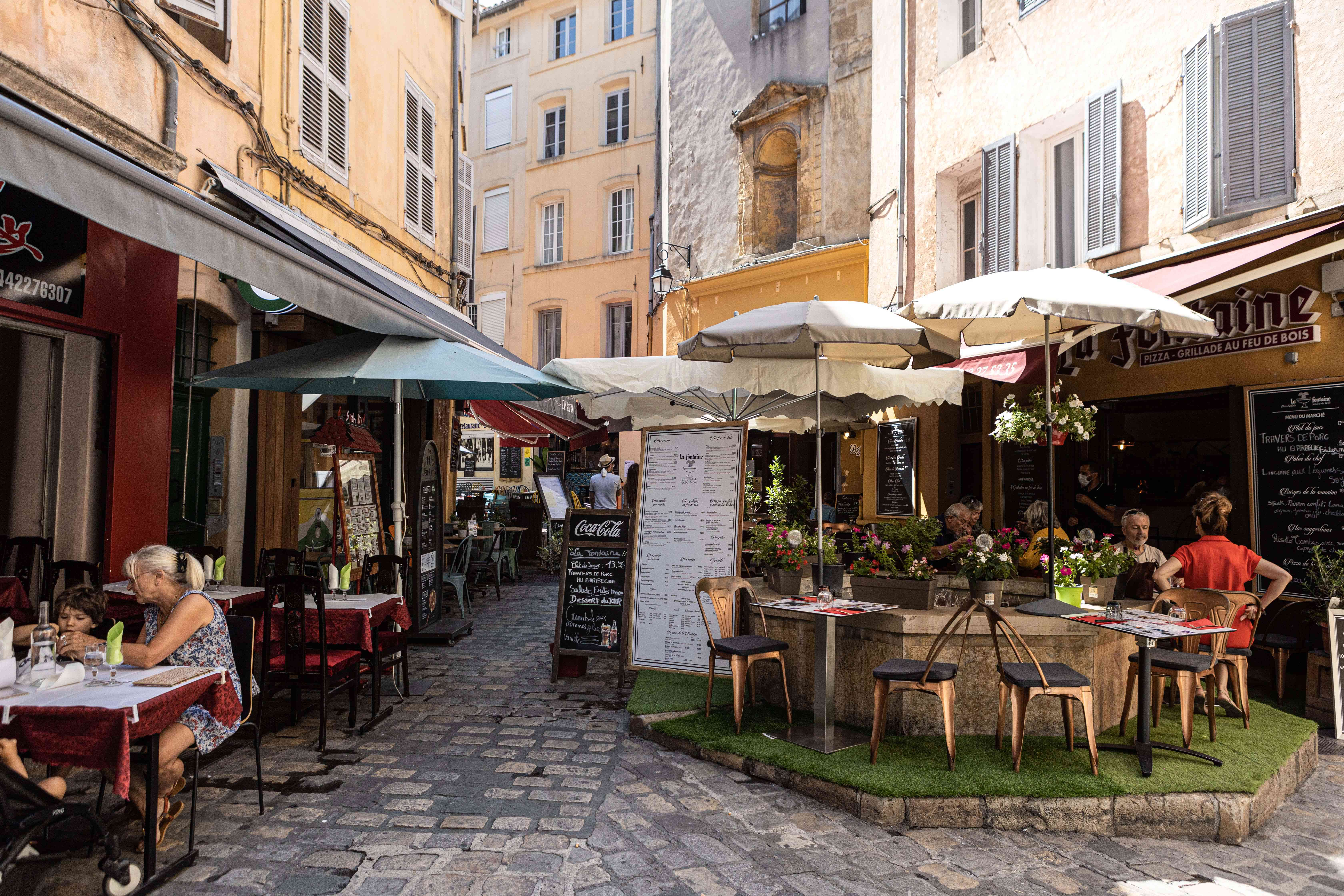 Cafe lined street in Aix-en-Provence