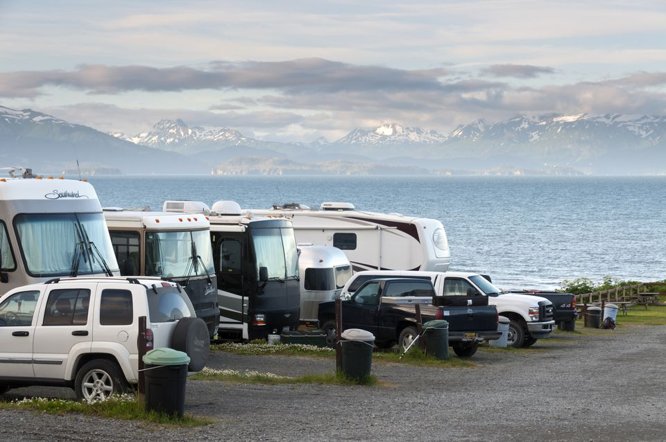 RV and trailers parked at lot
