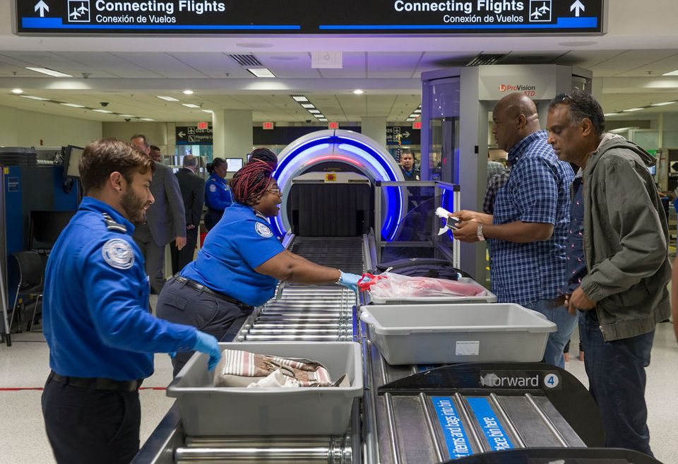TSA Checkpoint At Miami Airport