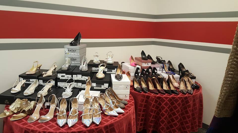 Donated designer shoes at Dress for Success