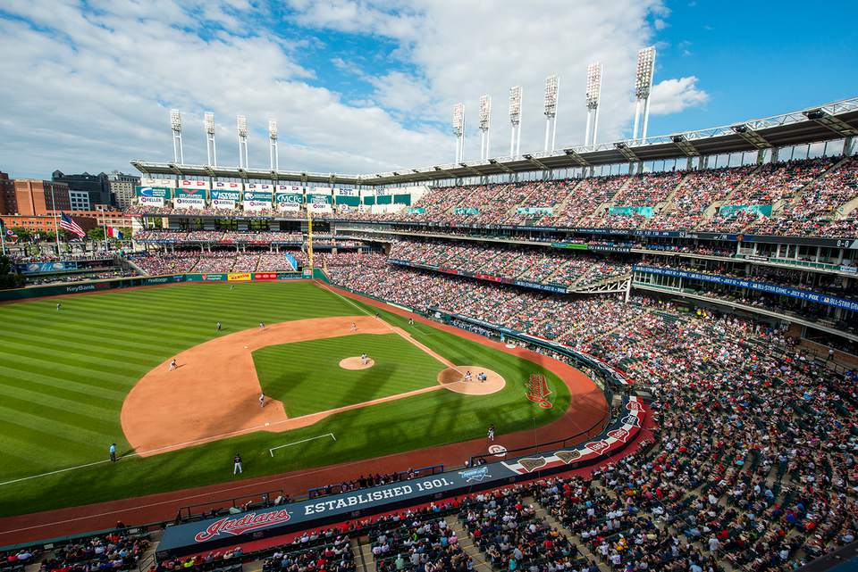 View from the stands at Progressive Field Baseball Stadium