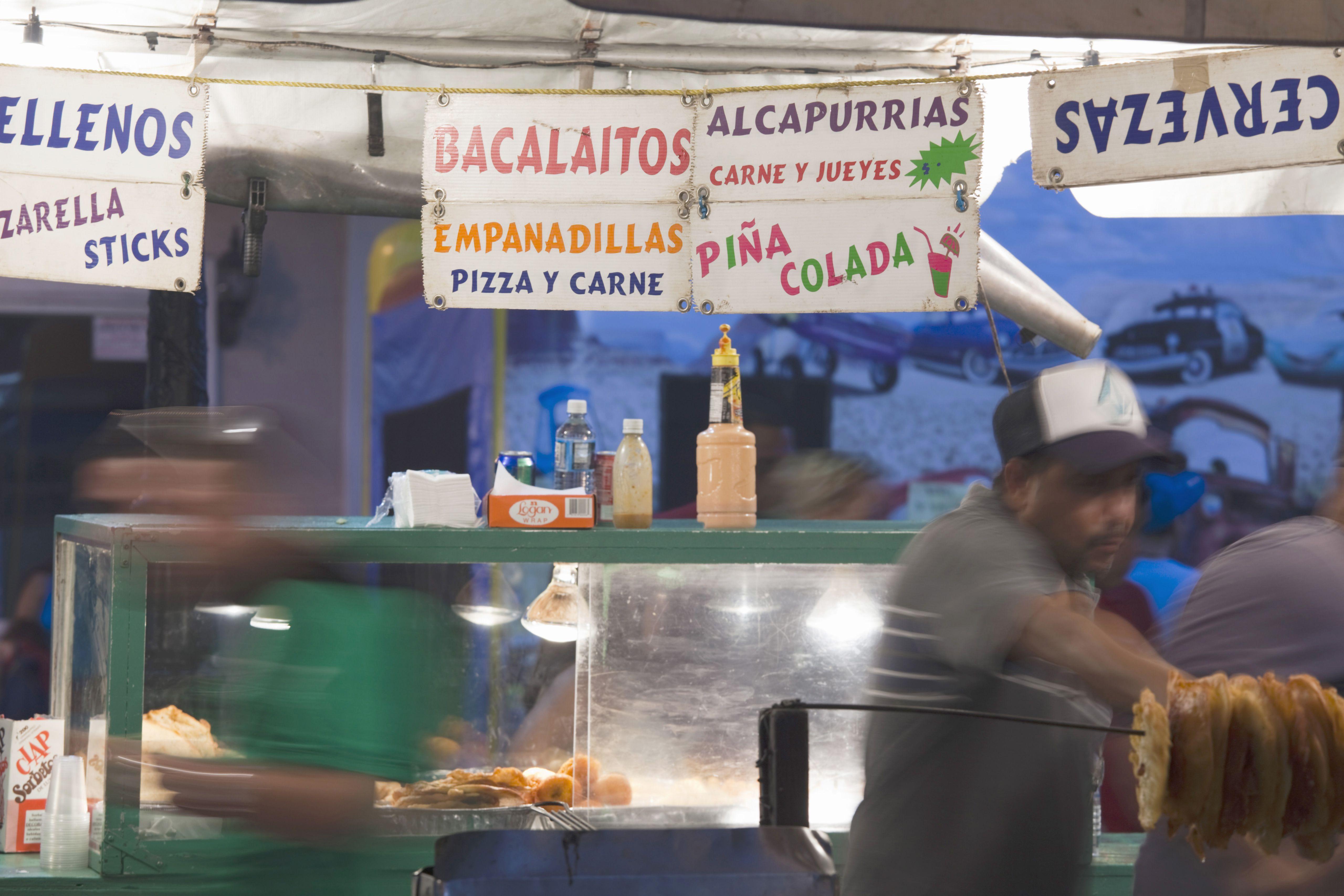 Fiesta food stand, evening, Plaza Las Delicias, Ponce, South Coast, Puerto Rico