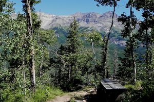 View of San Juan mountains from Telluride hiking path.
