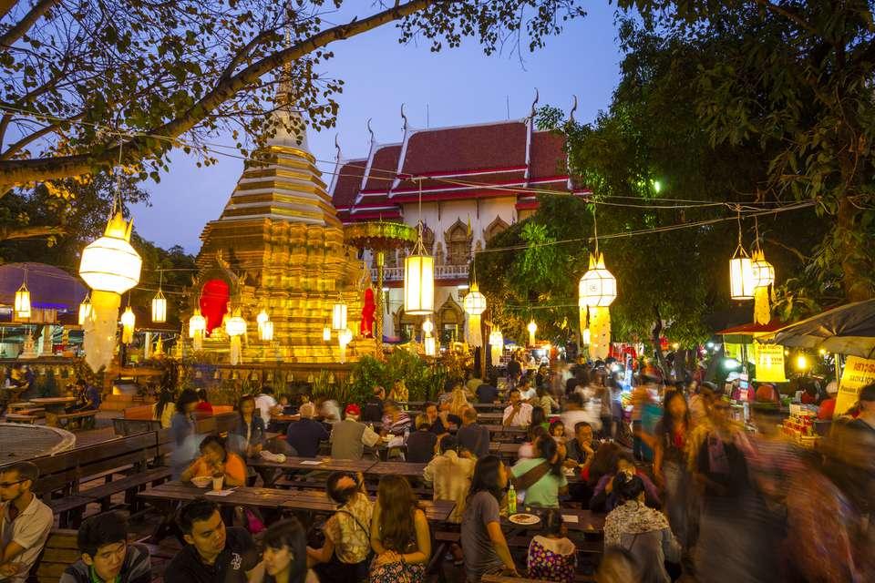 Open air food market in Wat Phra Singh, Chiang Mai