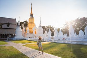 Tourist visiting temple in Chiang Mai, Thailand
