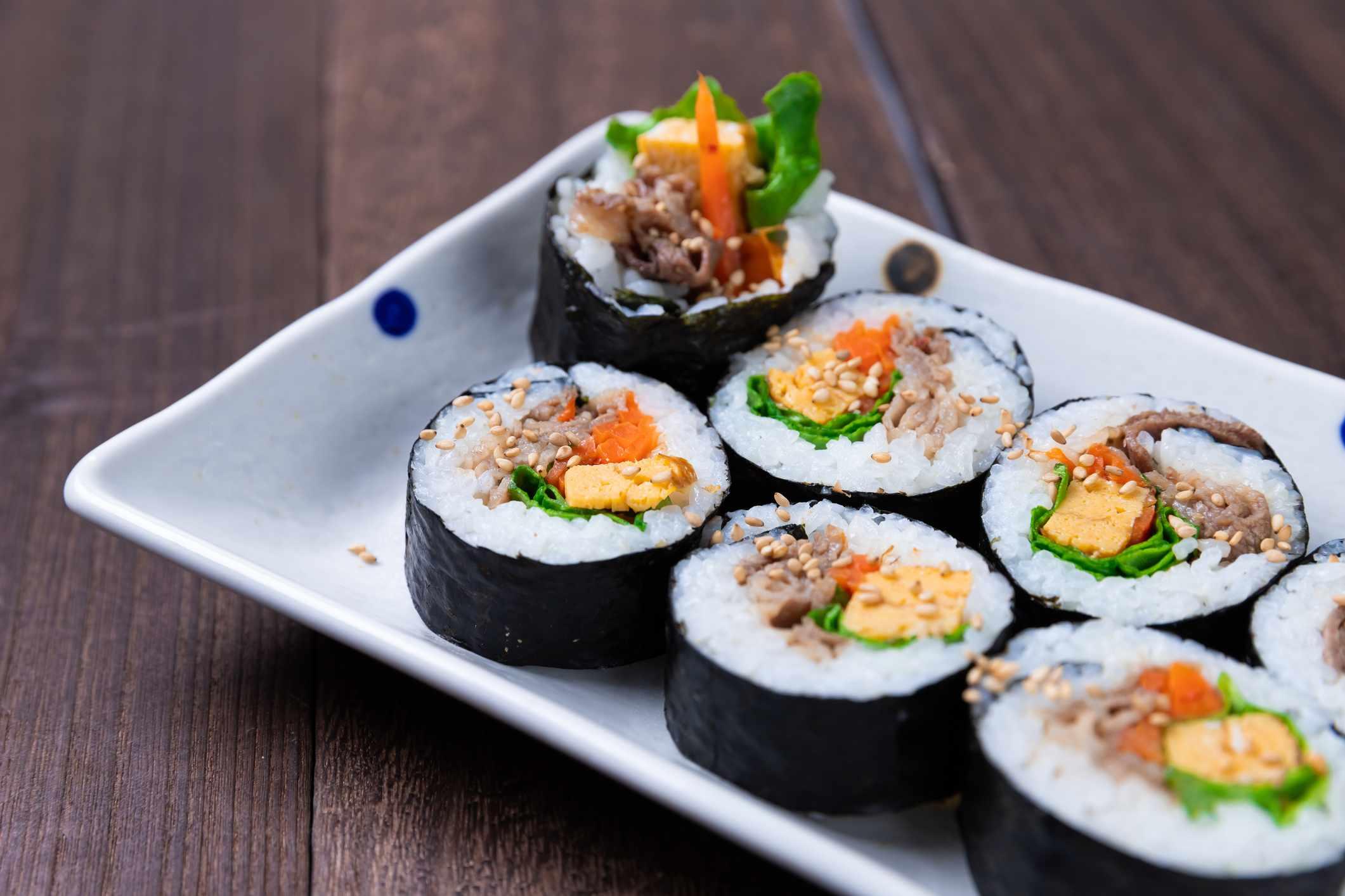 Korean style sushi called kimbap