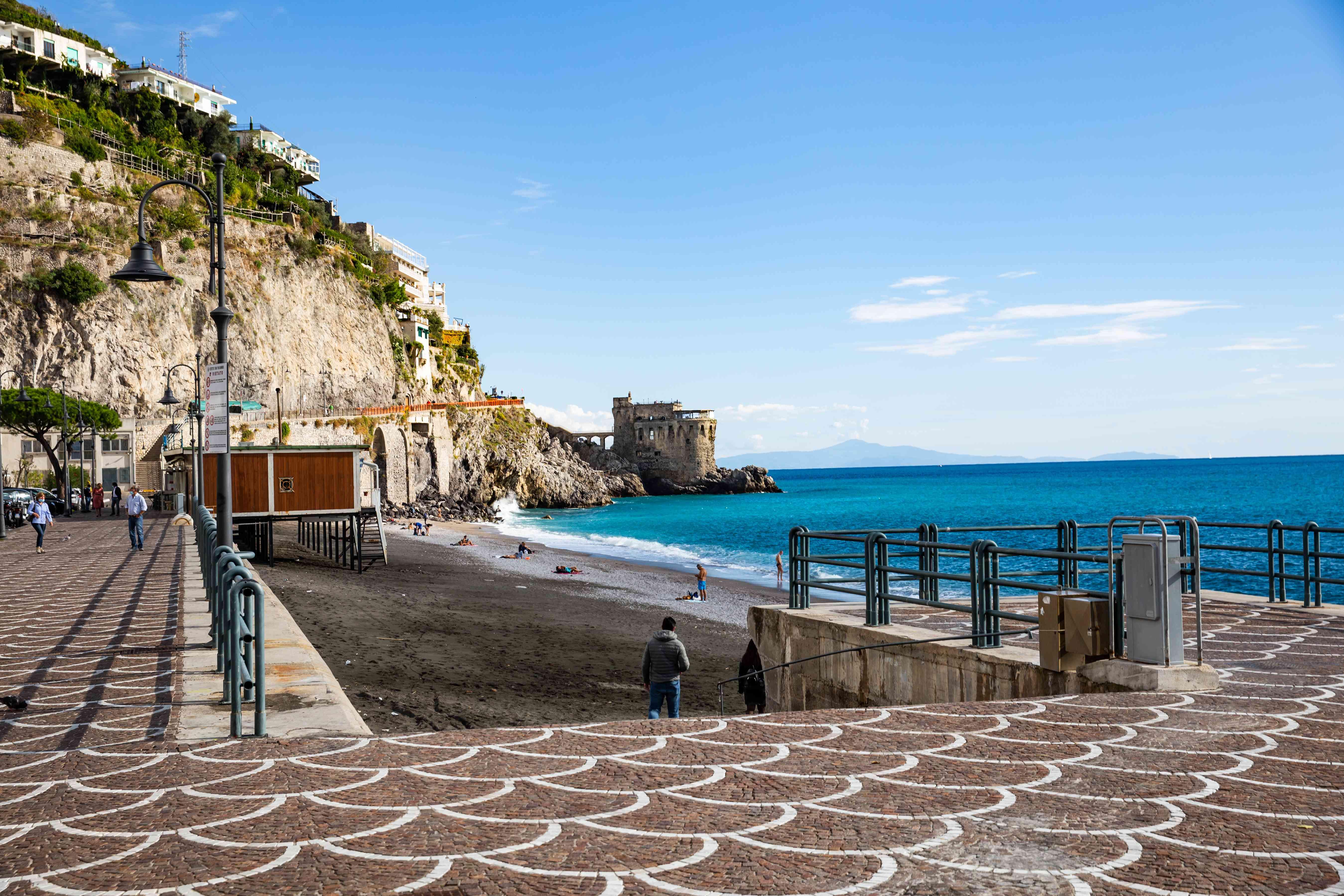 Maiori Beach in Amalfi, Italy