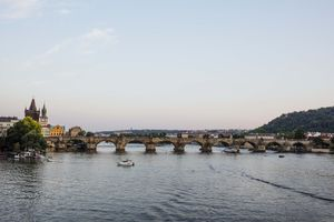 A wide shot of the Charles Bridge