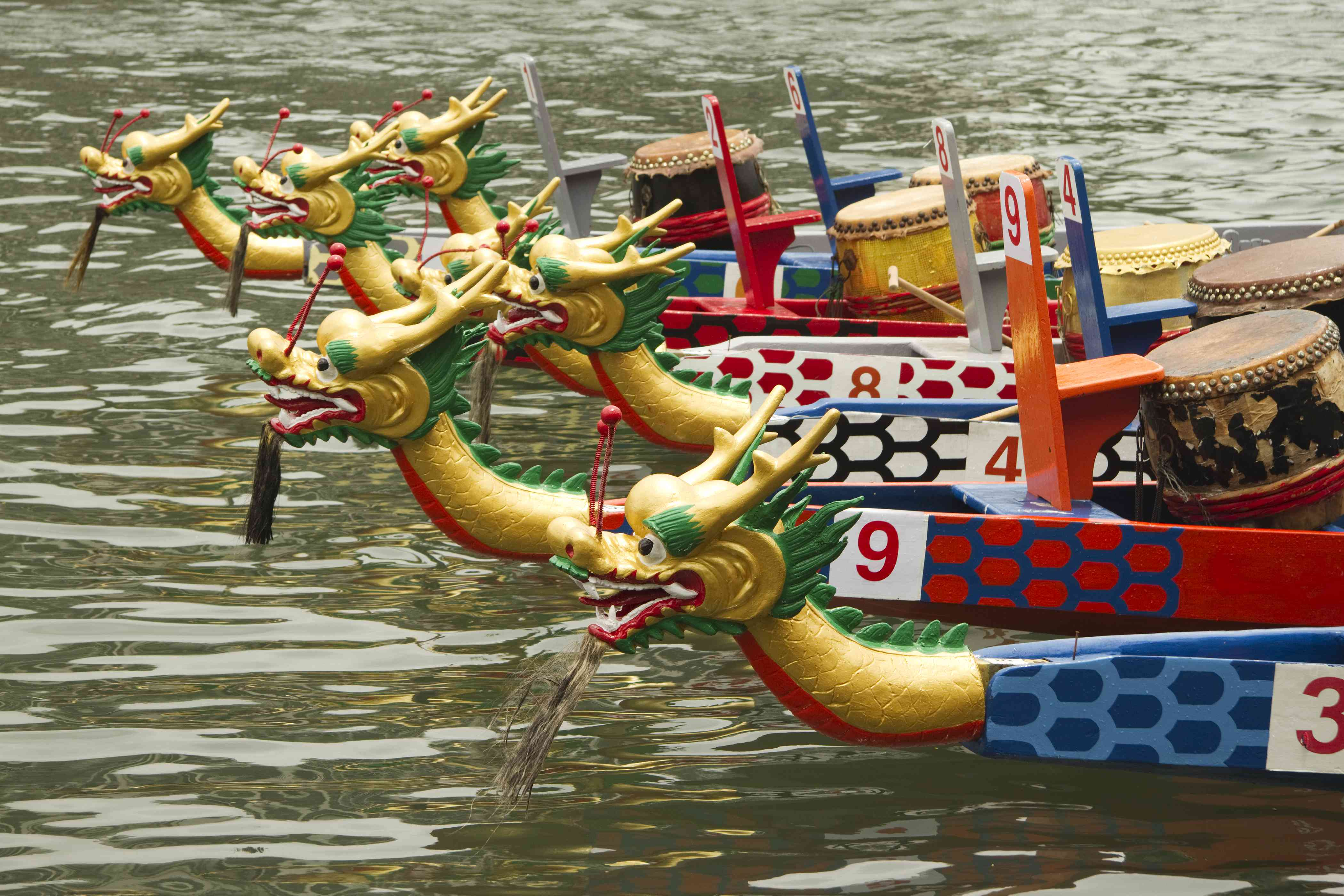 Six dragon boats with different numbers