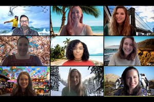 A shot of the whole TripSavvy team on a zoom call each person with their own custom TripSavvy Zoom Background