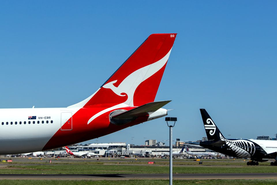 The tails of Qantas and Air New Zealand aircraft