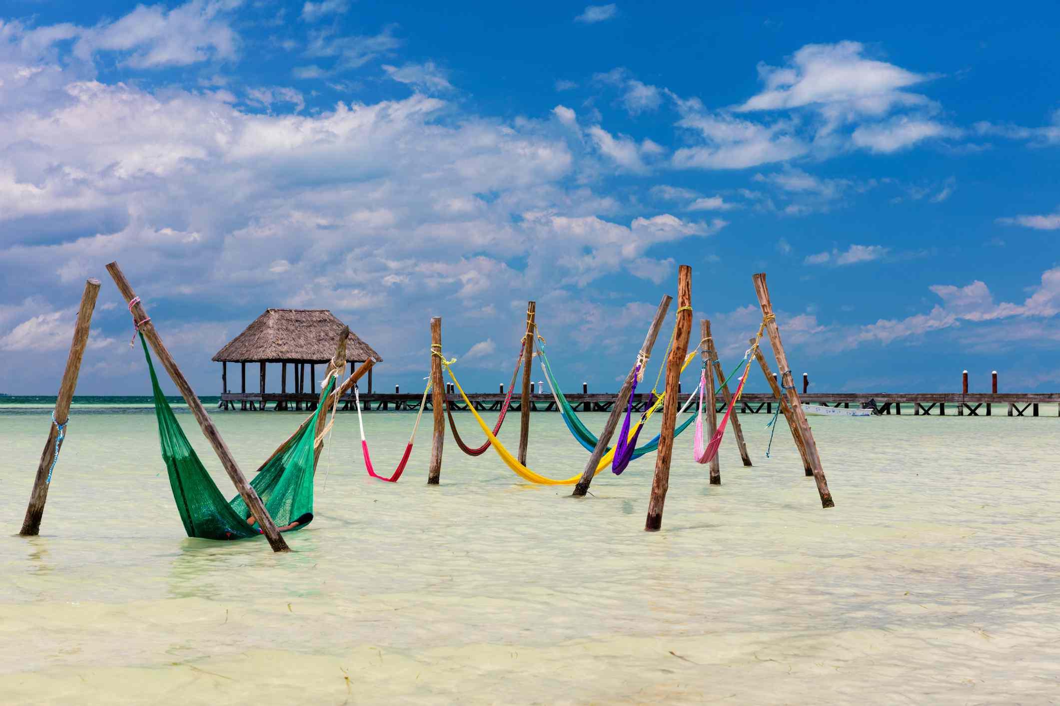 Hammocks in the water at Punta Cocos, Isla Holbox