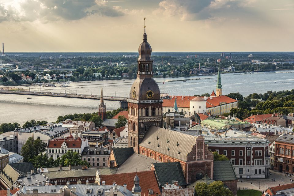 Latvia, Riga, cityscape with cathedral, castle and Vansu Bridge
