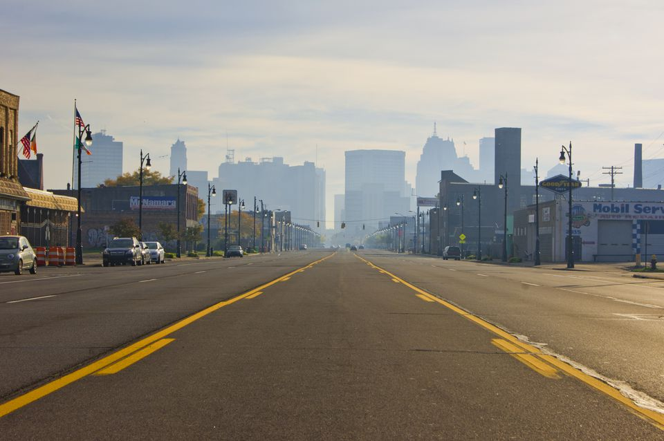 A view east along Michigan Avenue in the Corktown district of Detroit, Michigan, toward the downtown area which is shrouded in early morning mist. Established in 1834, Corktown is the oldest of Detroit's districts.