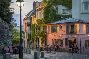 Evening sunlight on La Maison Rose in Montmartre, Paris, France