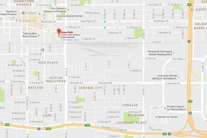 Map to Chase Field in Phoenix