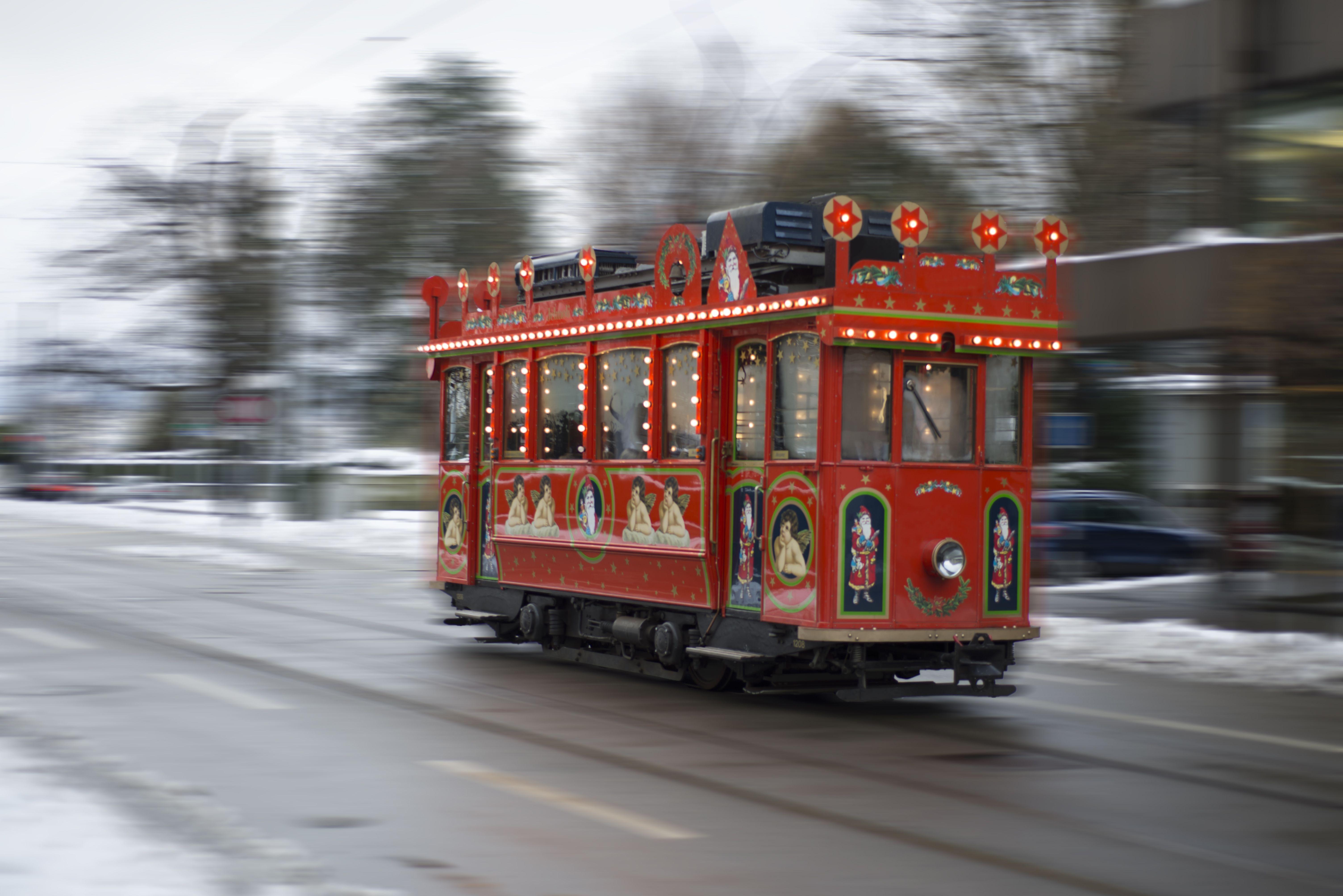Christmas tram in Zurich, Switzerland
