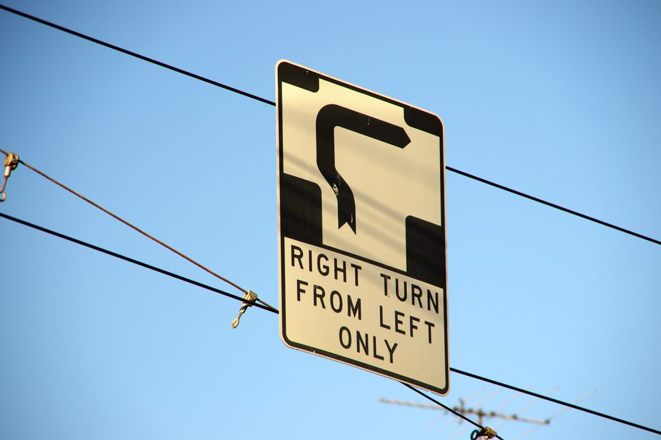 "A hook turn sign depicts a pointed line curve at a right angle and the words ""right turn from left only"""