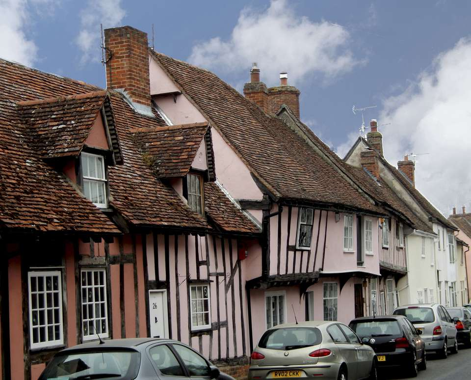 Street after street of half-timbered houses make a walk in Lavenham a must in any English touring itinerary. Except for the TV antennas and parked cars, the village has hardly change din 500 years.