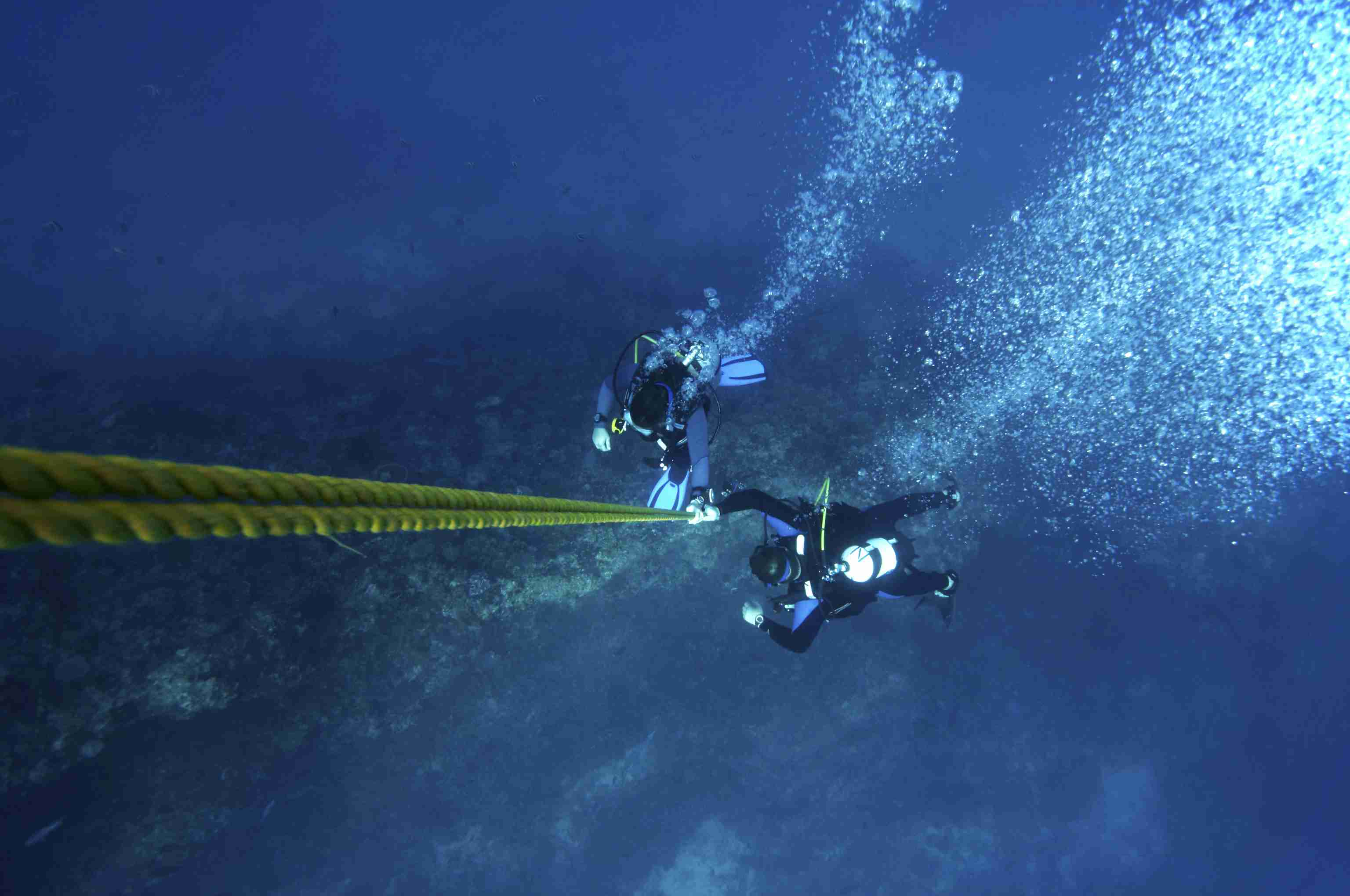 See a photo of scuba divers ascending during a controlled emergency swimming ascent