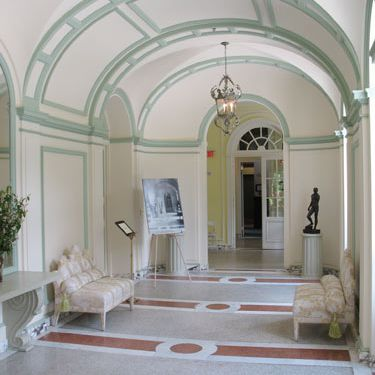 Symmetrical interior hallway.