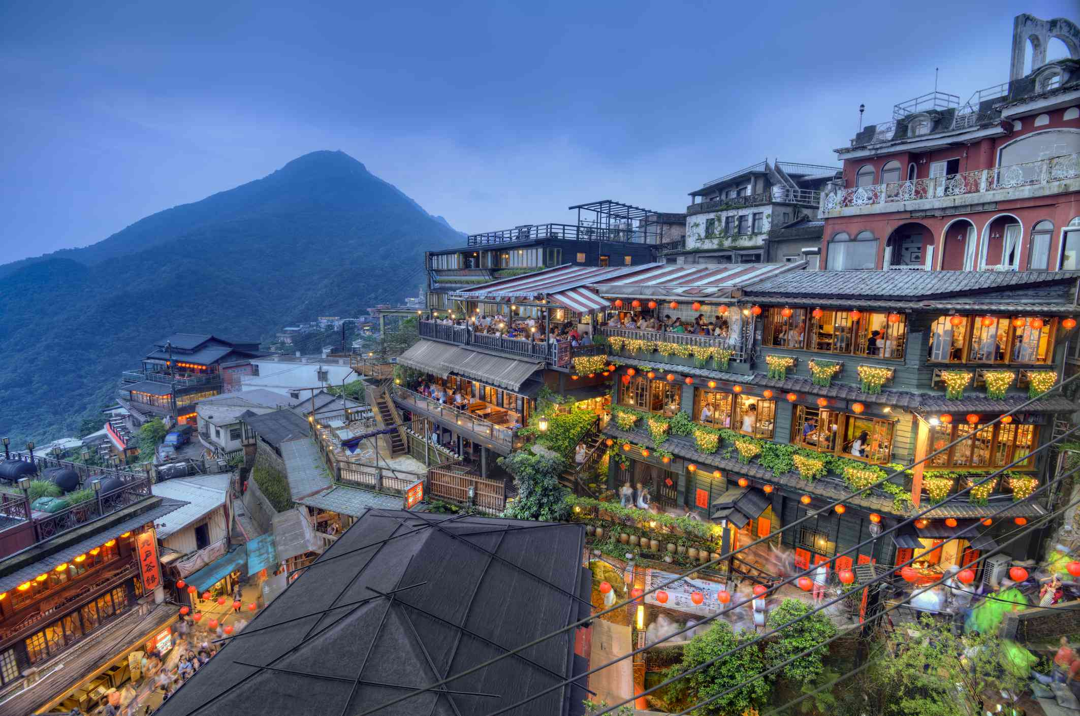 Beautifully decorated teahouses at the touristy mountain town of Juifen in Taiwan.
