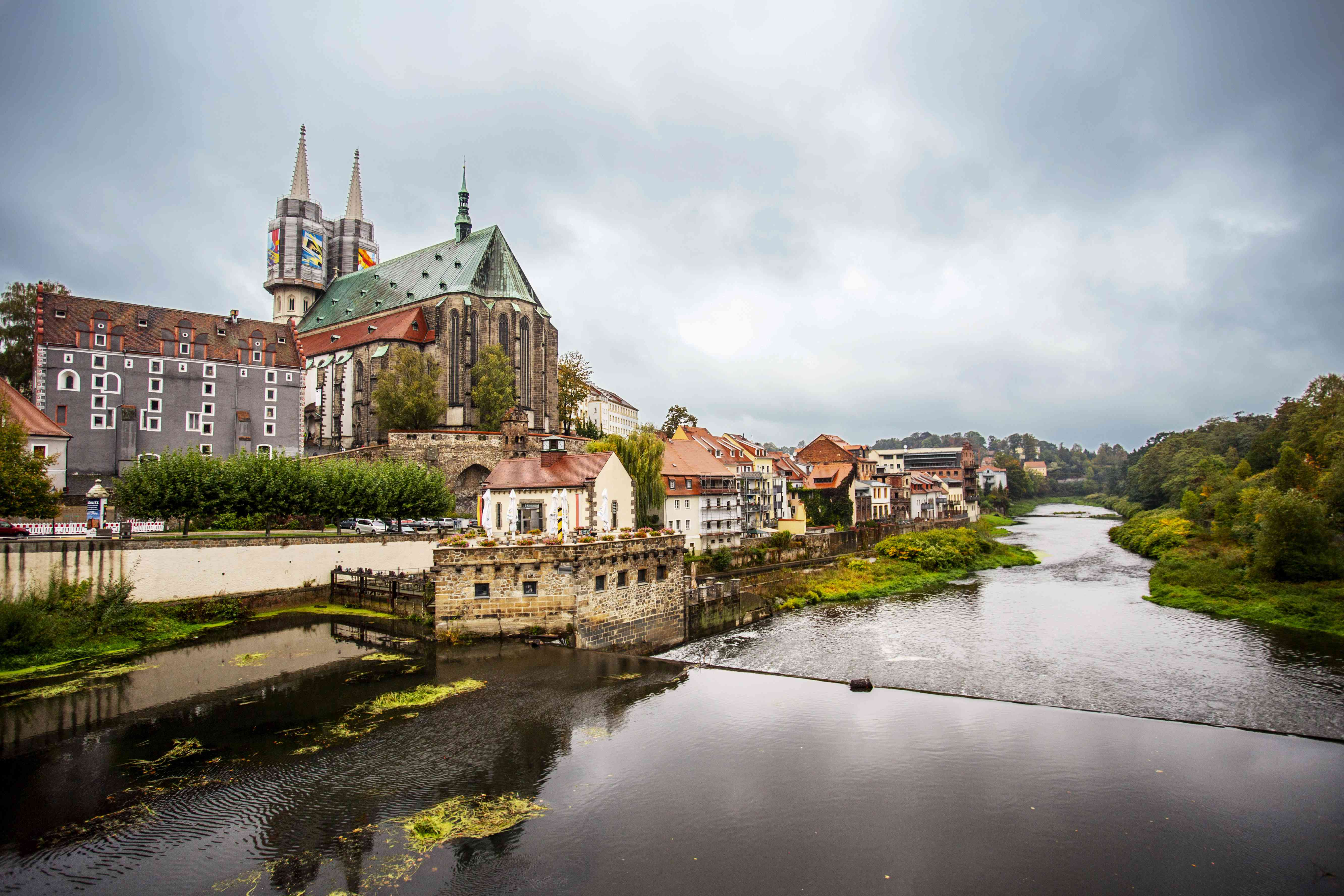 Wide shot of architecture in Gorlitz that sits along the river