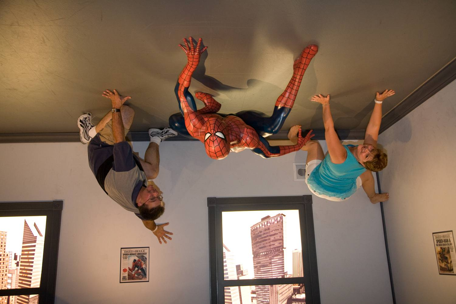 Climbing the Ceiling with Spiderman at Madame Tussauds Hollywood