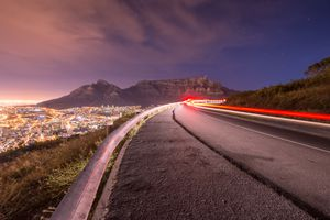 Long exposure of a road leading towards Table Mountain, Cape Town