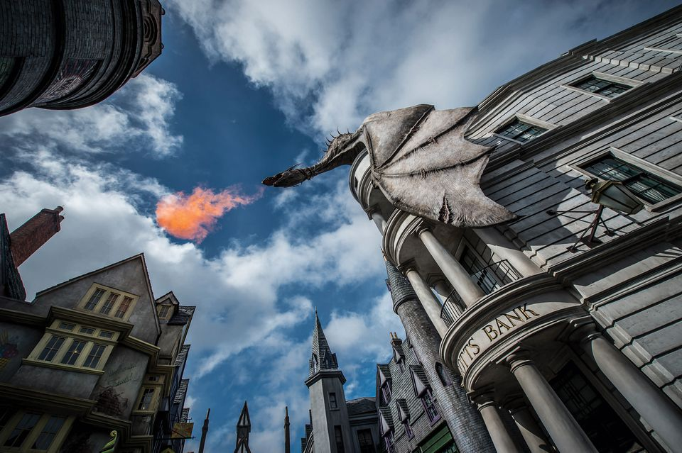 Diagon Alley at Universal Orlando fire-breathing dragon