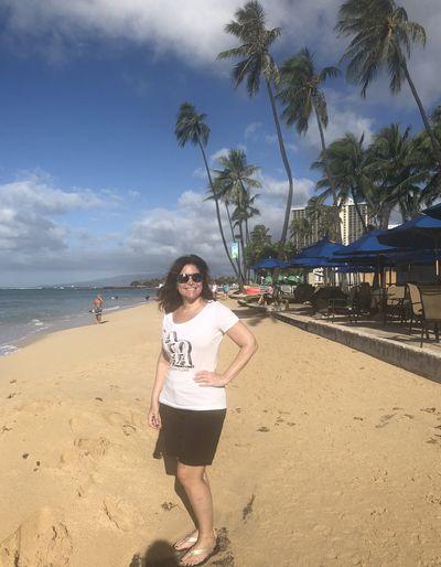 Marla Cimini on the beach in Waikiki, Hawaii