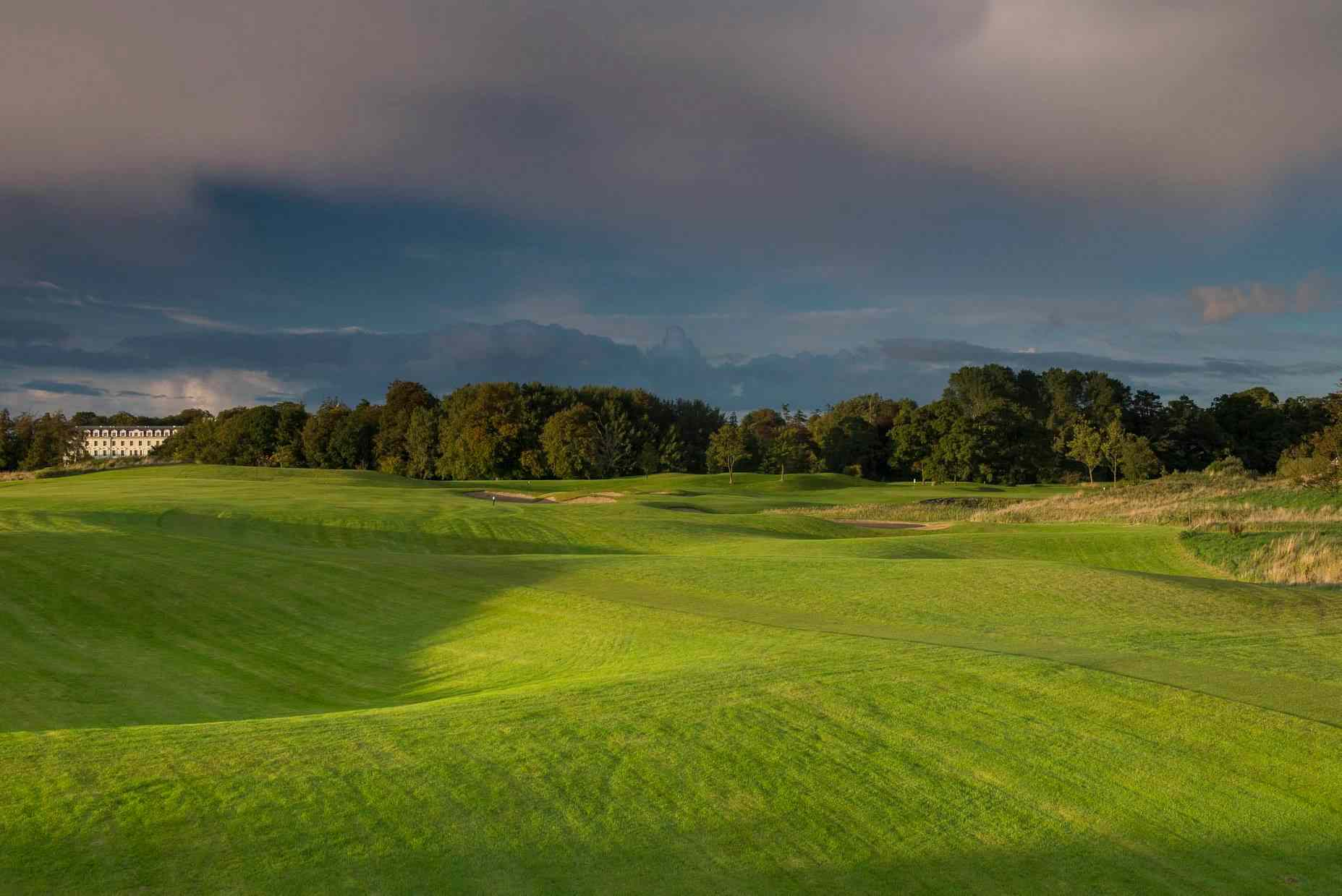 Irish golf course with gray skies