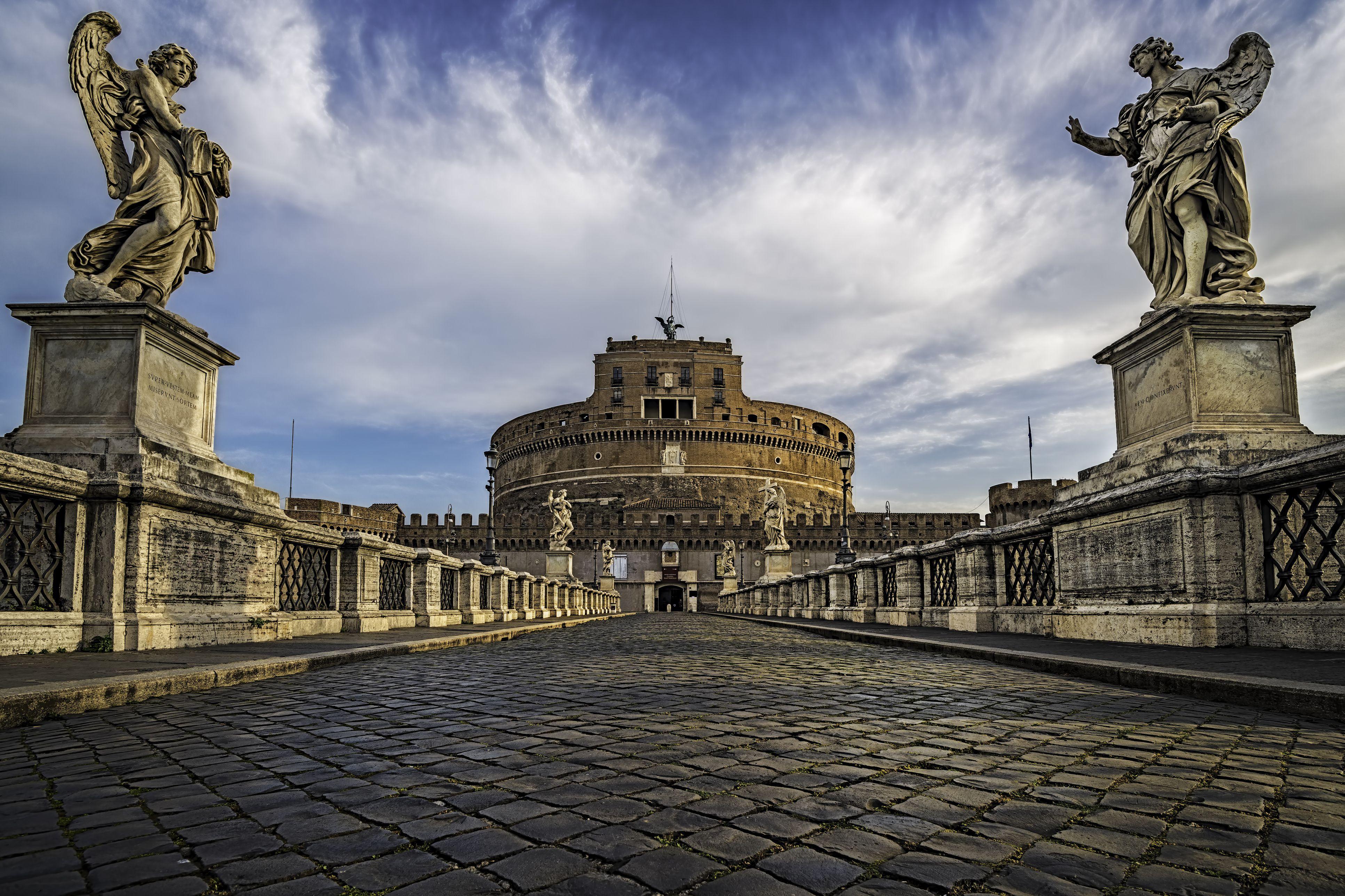 Italia, Roma, Vista del Castillo de Sant Angelo