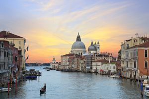 Gondola in the Grand Canal, Venice at sunset
