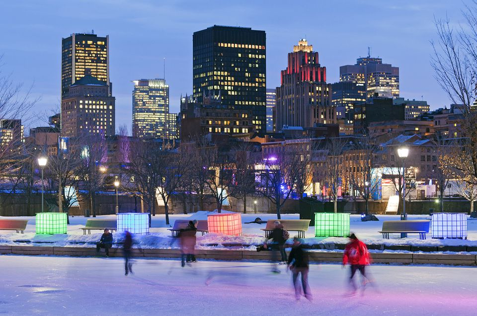Montreal in Winter with ice skaters